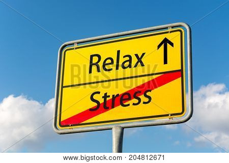 Yellow Street Sign With Relaxation Ahead Leaving Stress Behind