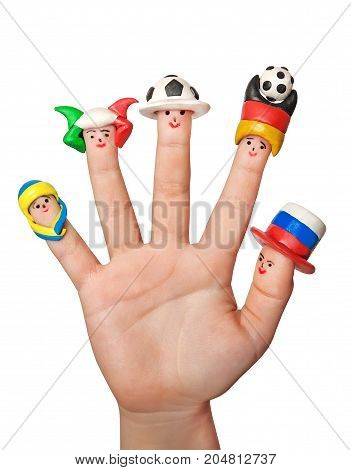 Men football fans in a clay caps on the fingers of a child's hands. Isolated on a white background.