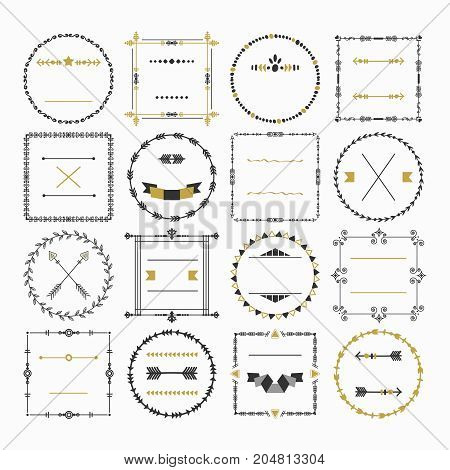 Black and golden empty circle and square border emblem design elements set on white background