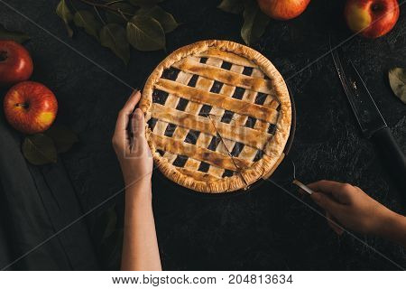 Woman Taking Piece Of Apple Pie