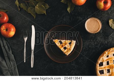 Piece Of Apple Pie On Plate