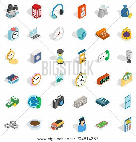 Mobile icons set. Isometric style of 36 mobile vector icons for web isolated on white background