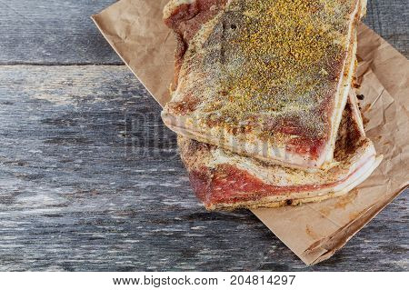 Salo, Becon With Dill On Wooden Board.