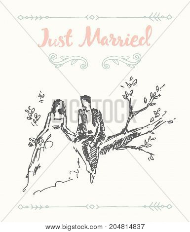 Hand drawn illustration of bride and groom, sitting on the tree branch, vector illustration, sketch