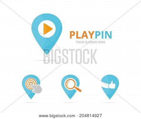 Set of map pointer logo combination. GPS locator and record symbol or icon. Unique pin and audio, video logotype design template.