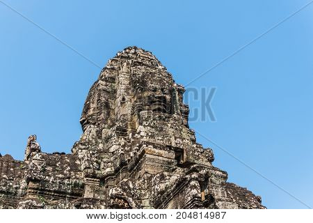 Smile face stone at bayon temple in angkor thom siem reap cambodia