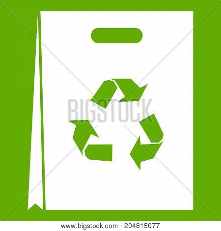Package recycling icon white isolated on green background. Vector illustration