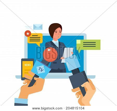 Online press conference concept. Communications and online dialogue, interviews, questions, broadcasts, news feeds, media. Reporters journalists take interview at businesswoman. Vector illustration.