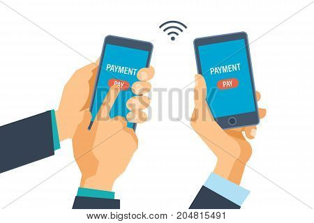 Mobile payment transfer. Financial transactions on money transfers through mobile systems. Hands hold phones and conduct operations. Vector illustration isolated.
