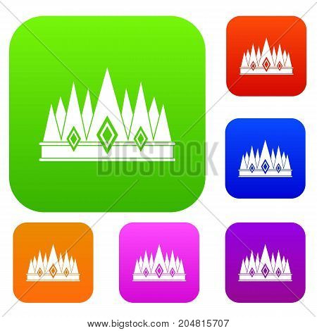 Crown set icon color in flat style isolated on white. Collection sings vector illustration