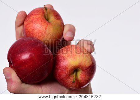 Apples Isolated On White Background. Apples In Bright Juicy Color