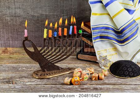 Low Key Image Of Jewish Holiday Hanukkah Background With Menorah Traditional Candelabra And Burning