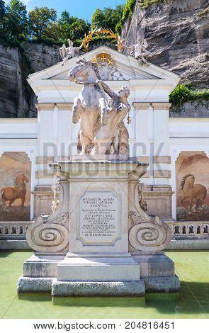 Austria Salzburg the Pferde Schwahme equestrian fountain in the old town