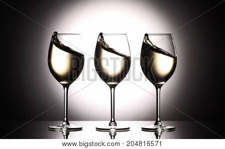 Wineglasses With White Wine - Transperent Liquid - On Studio Background