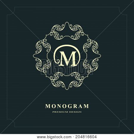 Line graphics monogram. Elegant art logo design. Letter M. Graceful template. Business sign identity for Restaurant Royalty Boutique Cafe Hotel Heraldic Jewelry Fashion. Vector elements