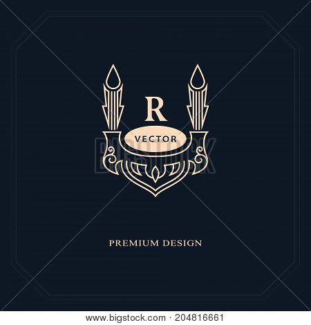 Line graphics monogram. Elegant art logo design. Letter R. Graceful template. Business sign identity for Restaurant Royalty Boutique Cafe Hotel Heraldic Jewelry Fashion. Vector elements
