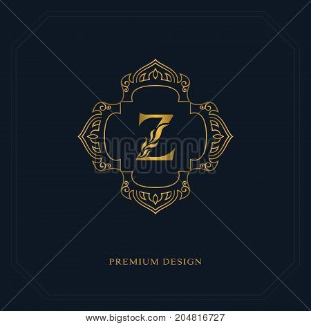 Gold Line graphics monogram. Elegant art logo design. Letter Z. Graceful template. Business sign identity for Restaurant Royalty Boutique Cafe Hotel Heraldic Jewelry Fashion. Vector elements