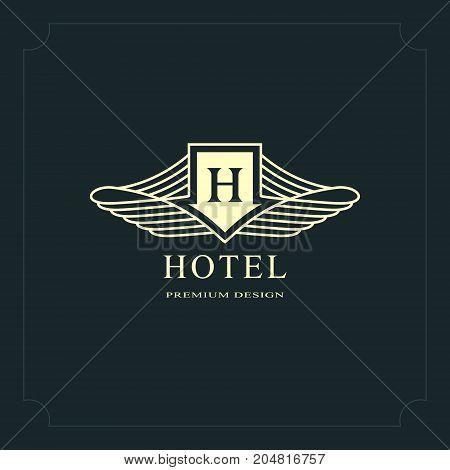 Line graphics monogram. Elegant art logo design. Letter H. Graceful template. Business sign identity for Restaurant Royalty Boutique Cafe Hotel Heraldic Jewelry Fashion. Vector elements