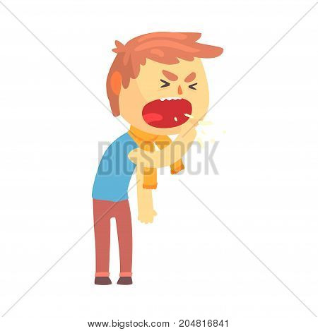 Sick boy character coughing with fist in front of his mouth cartoon vector illustration isolated on a white background