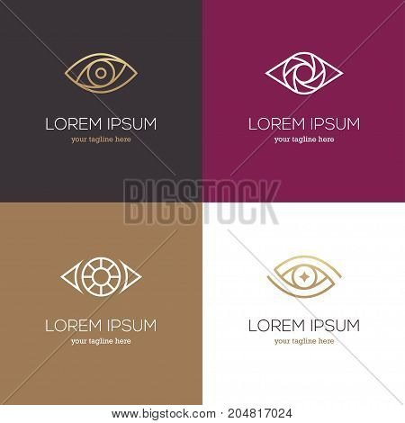 Four linear eye logo. Vision icon symbol in white and golden colors.