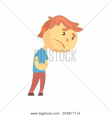 Unhappy boy character suffering from abdominal pain, kid pressing hands to his abdomen cartoon vector illustration isolated on a white background