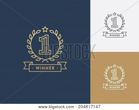 Linear winner emblem with number 1 wreath and ribbon. First place award. Victory success symbol logo.