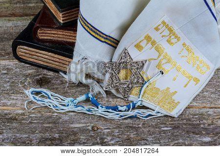 Prayer Shawl - Tallit, Jewish Religious Symbol. Selective Focus