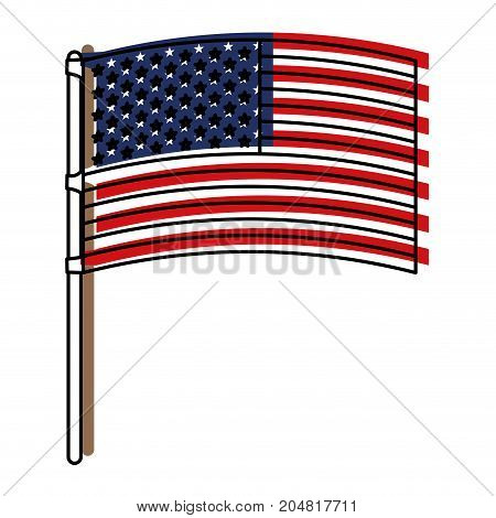 flag united states of america in flagpole waving watercolor silhouette vector illustration