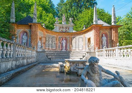 Salzburg Austria - August 3 2016: Architectures and sculptures in the garden of the Hellbrun palace