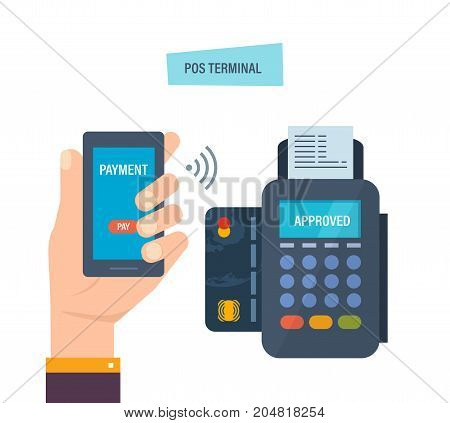 Pos terminal confirms the payment by smartphone. Financial transactions by phone. Hand presses payment button in phone through payment terminal, for successful payment by contactless system.