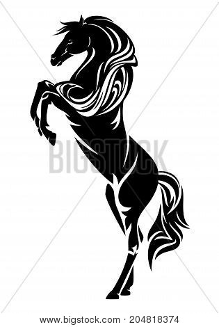 standing horse side view - black and white equestrian vector design