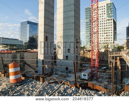 South Boston Massachusetts USA - June 23 2016: Construction on 50 Liberty Project in Seaport District in South Boston