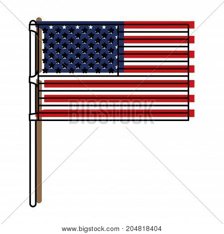 flag united states of america in flagpole and watercolor silhouette vector illustration