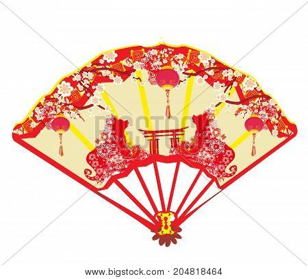 fan card - Chinese zodiac the year of Dog , vector illustration