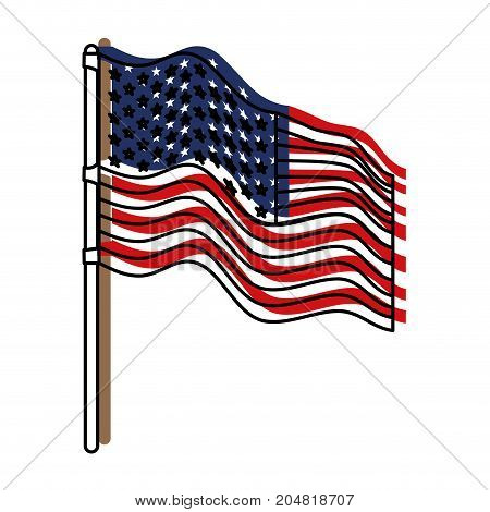 flag united states of america in flagpole waving side and watercolor silhouette vector illustration