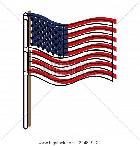 flag united states of america wave in flagpole and watercolor silhouette vector illustration