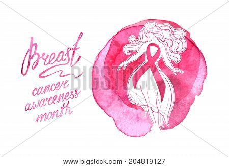 Beautiful girl with pink ribbon on a watercolor background. October - Breast Cancer Awareness Month. Health care and medicine concept.