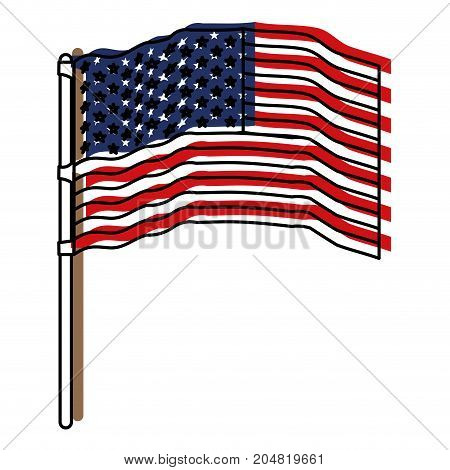 flag united states of america waving in flagpole and watercolor silhouette vector illustration