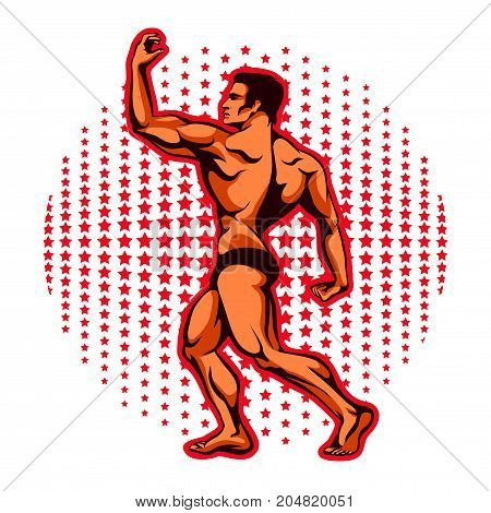 Vector illustration of an athlete with beautiful muscles, a bodybuilder in a sports rack with his back against the stars