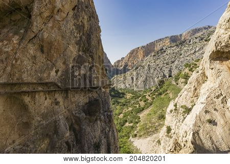 Caminito del Rey mountain hiking trail. Malaga province. Spain