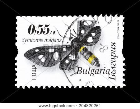 BULGARIA - CIRCA 2004 : Cancelled postage stamp printed by Bulgaria, that shows Night butterfly Symtomis marjana.
