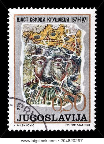 YUGOSLAVIA - CIRCA 1971 : Cancelled postage stamp printed by Yugoslavia, that shows Fresco of king Lazar.