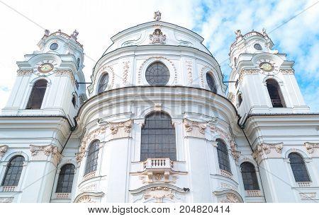 Austria Salzburg upward view of the Collegiate church in the old town