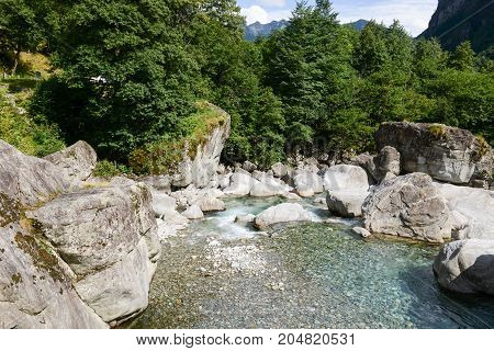 River Maggia In The Valley Of The Same Name