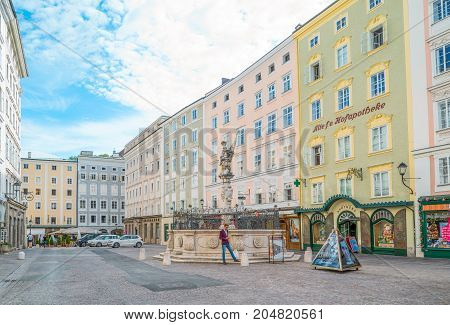 Salzburg Austria - August 4 2016: The colored palaces of Alter Market square