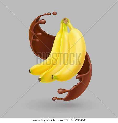 Banana in chocolate splash. Realistic fruit vector illustration.