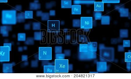 Periodic Table on dark background. Several elements fly past and different chemical elements can be seen in the middle.  3d render.