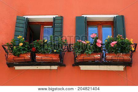 Windows in the city Venice Italy .