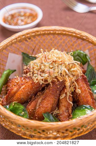 chicken wings with herb and sauce - asia food