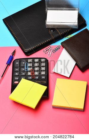 Calculator, Notebook, Business Card Holder, Note Paper And Clips